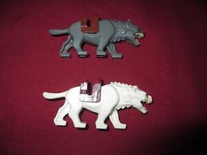 LEGO-LOTR-HOBBIT-Minifigures-Lot-White-amp-Gray-Wargs-with-saddles
