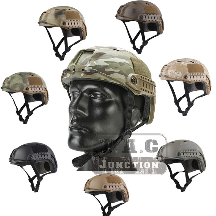 Emerson Tactical Fast Helmet PJ Type Bump Jump Helmet w  NVG Shroud + Side Rail