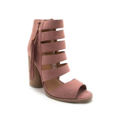 Women/'s Open Toe Booties Strappy w// Block Heel Boot Bondi-12 By Qupid