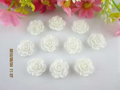 NEW 20pcs White Resin Rose Flower flatback Appliques For phone/wedding/craft DIY