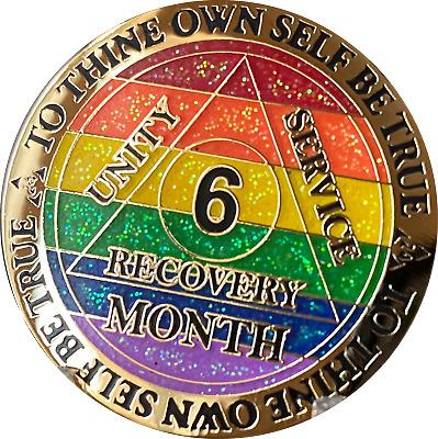 3 Year AA Medallion Reflex Rainbow Plated Black Sobriety Chip III