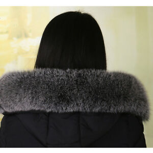 Real-Black-amp-White-Fox-Fur-Collar-Fur-Hood-Trimming-Scarf-70-14cm-27-6X5-5-034-US