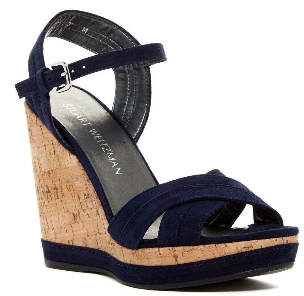 435 NIB Stuart Weitzman Minky Platform Wedge Sandale Nice Blau Suede Sz 10