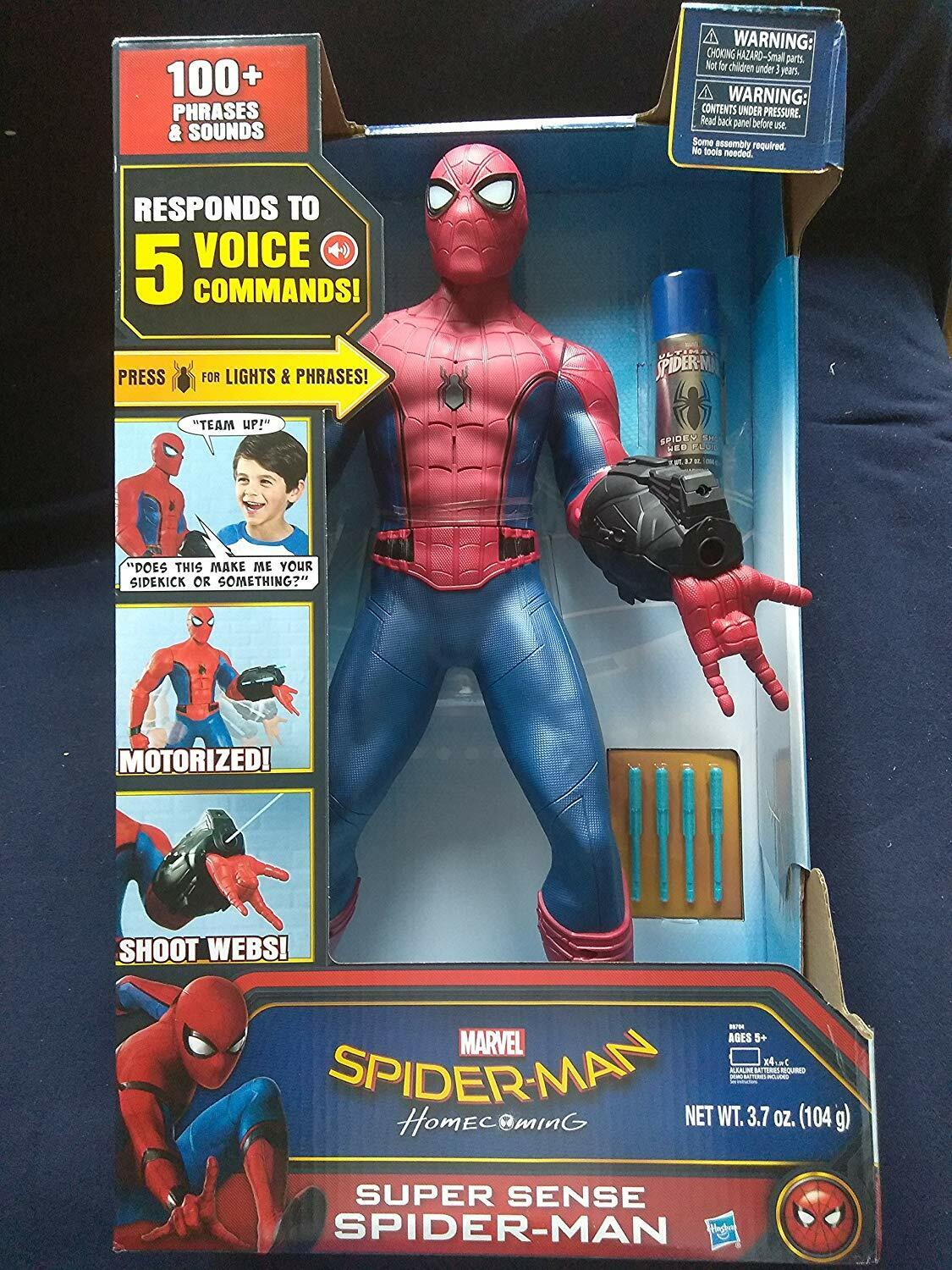 Marvel Spider-Man Motorized 25 IN Tall 100+ Phrases Lights Up & Shoots Web Fluid