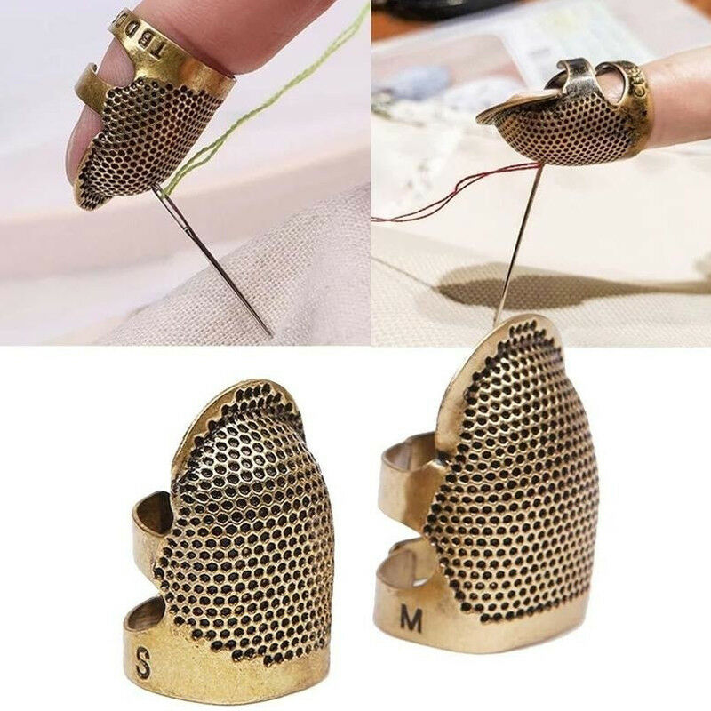 Gsdviyh36 Finger Protector Sewing Tool,Vintage Adjustable Thimble Pin Needle Finger Protector DIY Sewing Ring Tool Copper S