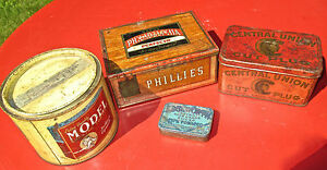 Lot of 4 Early 1900s Tobacco Tins Edgeworth, Model, Phillies, Central Union.