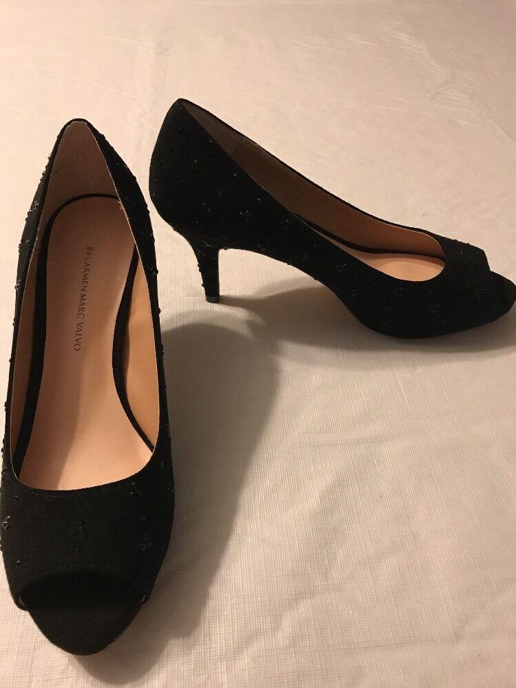 Carmen Marc Valvo Women's shoes Faith Black Open Toe Trolled Size 7.5 NWOB