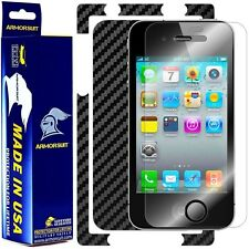 ArmorSuit MilitaryShield Apple iPhone 4 Screen + Black Carbon Fiber Skin! New!