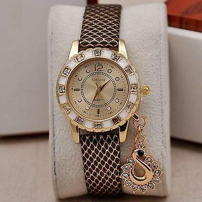 Swan Pendant Women Fashion Dress Watch Rhinestone Crystal Dial Quartz Wristwatch