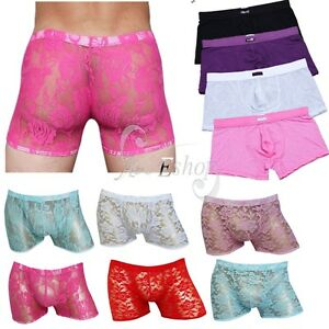 Image Is Loading Sexy Men 039 S Lingerie Sheer Lace Boxer