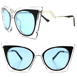 45bee433e3 Image is loading Transparent-Frame-Blue-Lens-Stylish-Womens-Classic-Vintage-