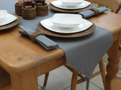 6 COLOURS 100/% COTTON TABLE RUNNER 3 SIZES