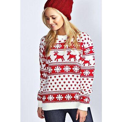 Ladies Reindeer Snowflake Aztec Christmas Pattern XMAS Knitted Jumper Sizes 8-14