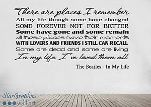 The Beatles In My Life Song Lyrics Quote Wall Art Vinyl ...