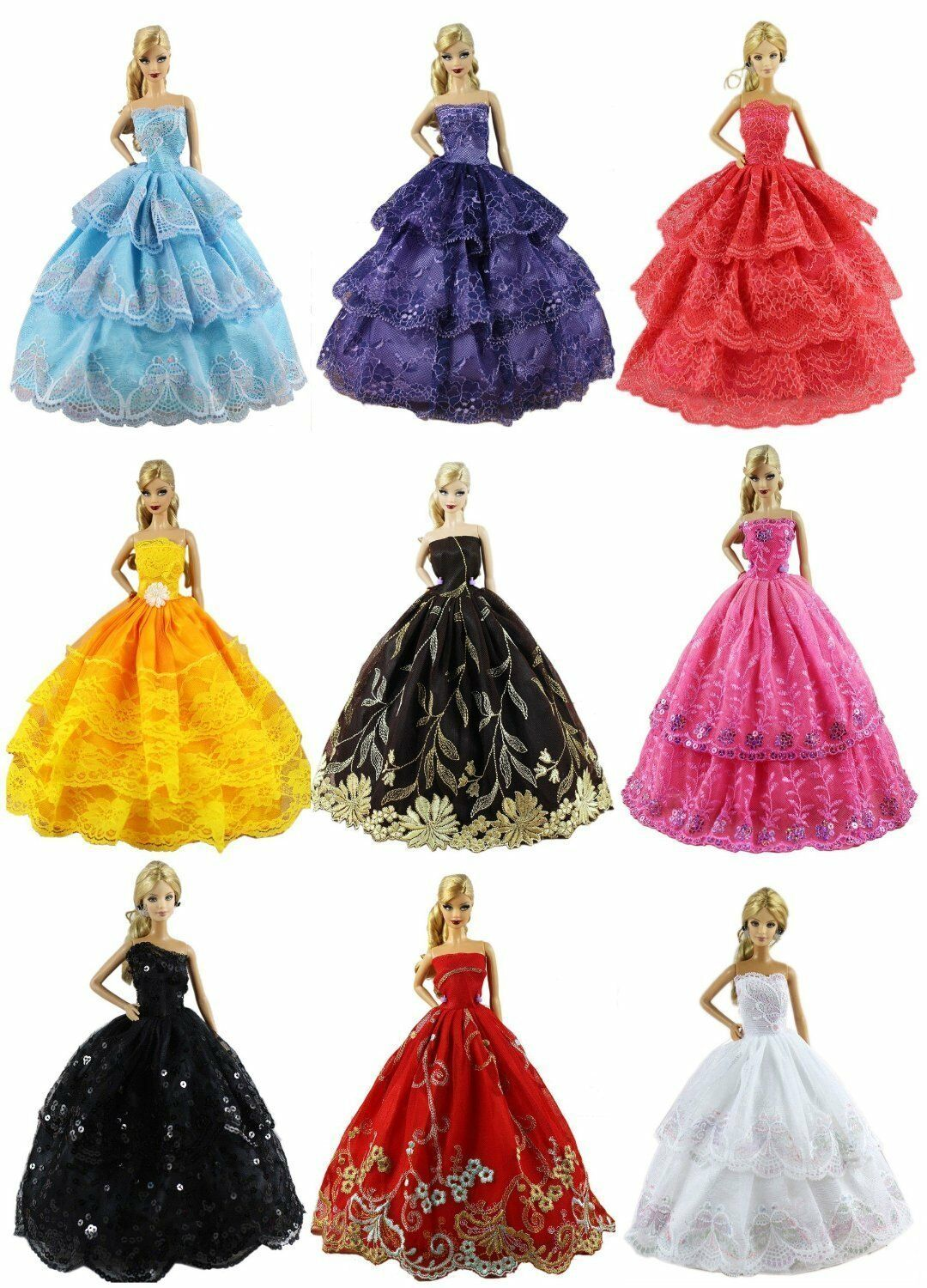 AU 6PCS  Handmade Wedding Dress Party Gown Clothes Outfits For Barbie Doll Kids