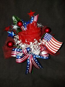 Patriotic Rose with Red Glitter Center