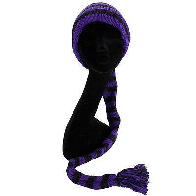 Lana Knit Tail Cappello Hippy Festival Slouch Beanie Foderato In Pile Viola Nero Stripe-