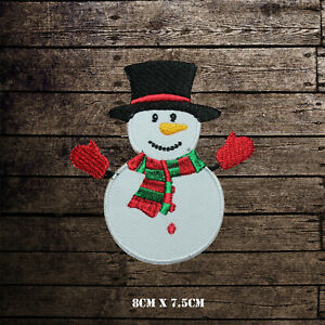Snowman-Christmas-Xmas-Embroidered-Iron-On-Sew-On-Patch-Badge-For-Clothes-etc