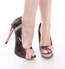 New Black Red white American Flag news print High heel pump peep toe Shoe sz 7