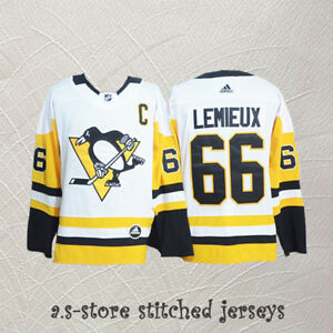 check out 6540c fba6b Details about #66 C Mario Lemieux Pittsburgh Penguins Hockey Jersey Sewn  White Men Jersey