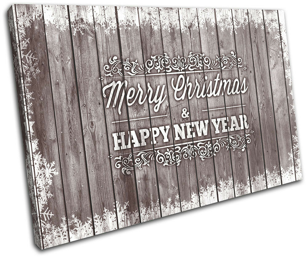 Christmas Decoration Wall Canvas ART Print XMAS Picture Gift Wood 16 braun Chris