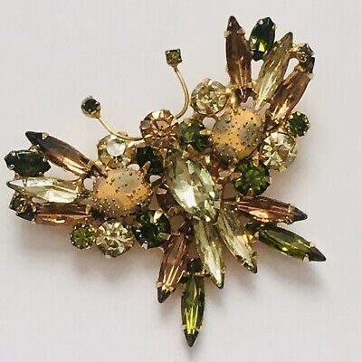 GORGEOUS AURORA BOREALIS NAVETTE CRYSTAL BUTTERFLY BROOCH BRAND NEW!