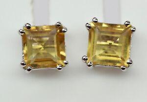 2-4-Carat-Citrin-Ohrstecker-925-Silber-Ohrring-Unisex-gelber-Edelstein