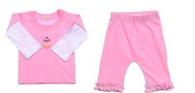 baby girl pink top & frill pants set NWT 000 cupcake lace & sequin ~ adorable