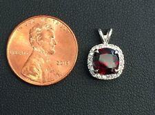 NEW!! 925 sterling silver Garnet cushion cut cz halo pendant