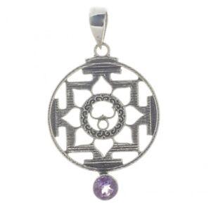 Indischer-Stil-Amethyst-Anhaenger-Silber-Symbol-Schmuck-NEU