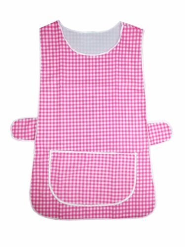 Carol All Sizes Pink 1 Ladies Check Tabard Tabbard Apron Work Overall