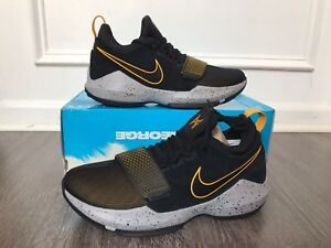 cd183e11d3ac Nike PG 1 Paul George Basketball Shoes Black Gold Pacers 878627 006 ...