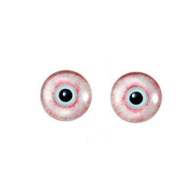 16mm Bloodshot Zombie Glass Eye Pair Cabochons for Doll or Jewelry Making