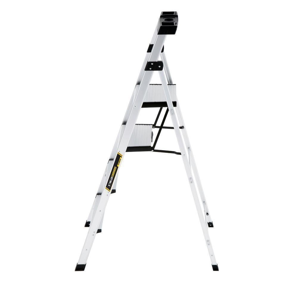 Lightweight Aluminum 5.5 ft Platform and Hybrid Ladder with 250 lb Load Capacity