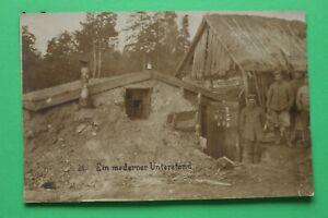 Foto-AK-Moderner-Unterstand-Bunker-1914-18-Soldaten-Gebaeude-1-WK-WWI