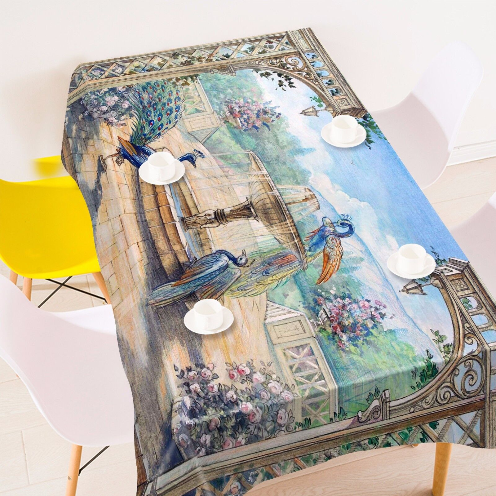 3D paonne Nappe Table Cover Cloth fête d'anniversaire AJ papier peint Royaume-Uni Citron