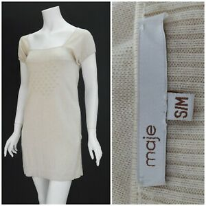 Womens-Maje-Santafe-Dress-Stretch-Silk-Cashmere-Beige-Short-Sleeve-Size-S-M