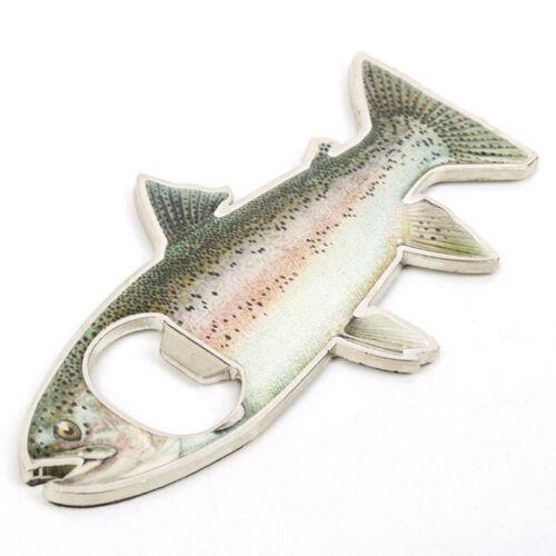 Regenbogen Edelstahl Fisch Form Bier Flaschenöffner Kühlschrankmagnet Tackle