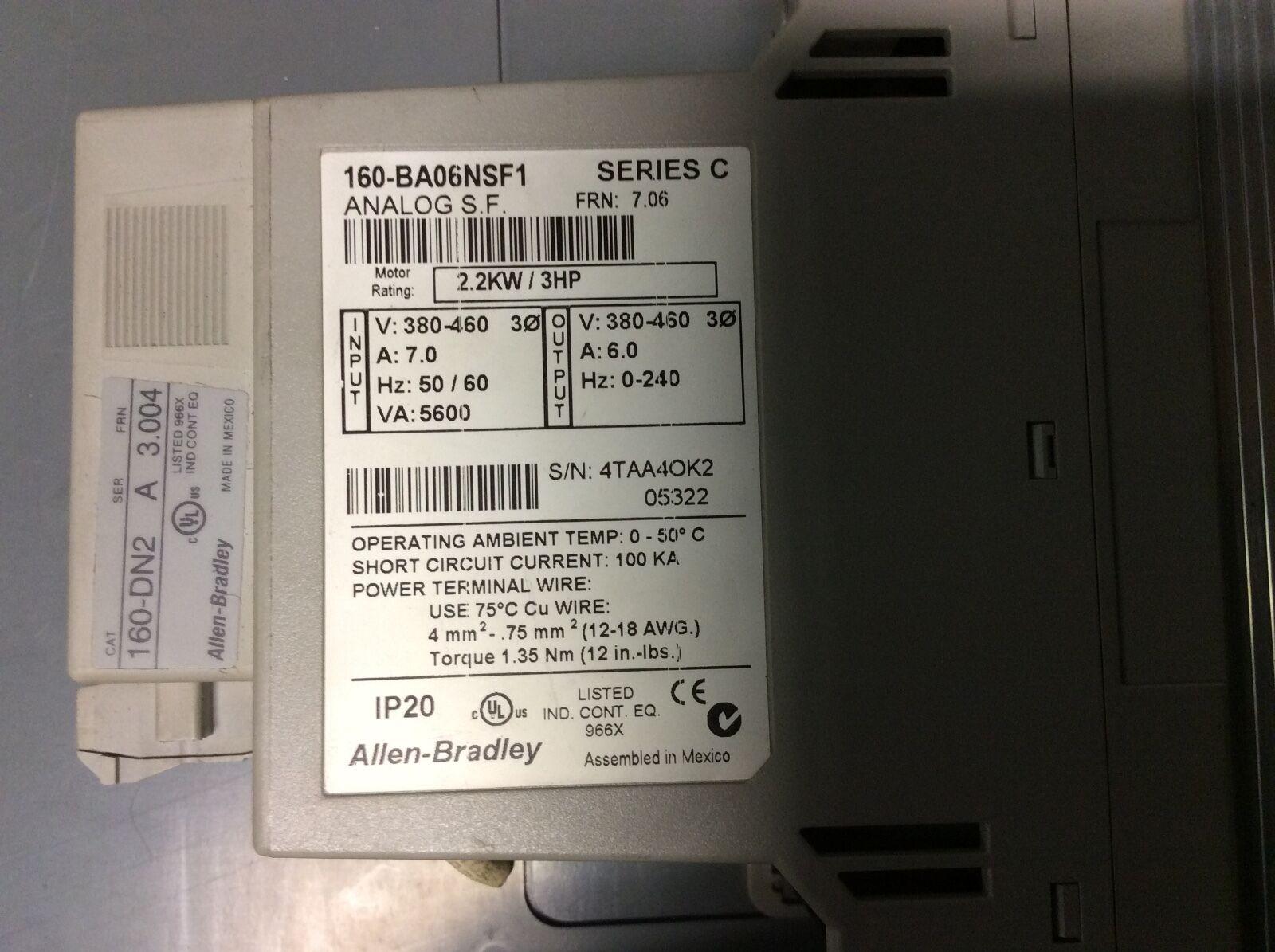 Allen-Bradley Unidad 3hp, 160-BA06NSF1, ser-C, frn-7.06, garantía garantía garantía de rojo de dispositivo 1a01d3