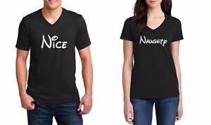 cd7a8f147 V-neck Nice & Naughty Shirts Christmas Matching T-Shirts Couple SET ...