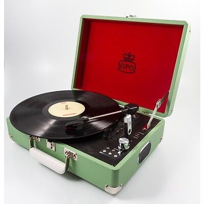 GPO Attache Apple Green Portable Briefcase Record Player Vinyl Turntable