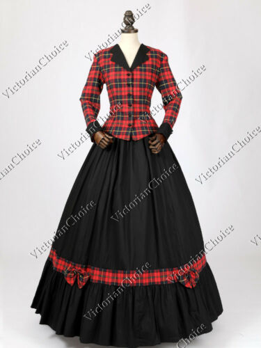 Steampunk Dresses | Women & Girl Costumes    Victorian Plaid Dress Suit Theater Pioneer Woman Ghost Halloween Costume N 122  AT vintagedancer.com