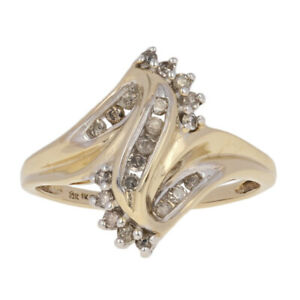 16ctw-Round-Brilliant-Diamond-Ring-10k-Yellow-Gold-Bypass-Size-7-1-4