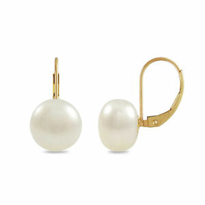 14K-Gold-10mm-Freshwater-Button-Pearl-Lever-Back-Earrings-White-or-Pink-Pearl