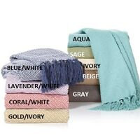 Concierge Collection 100% Egyptian Cotton 50x60 Throw With Fringed Edges -