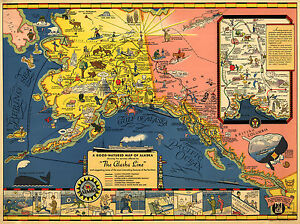 Details about The Alaska Line Mid-century Map Steamboat Railroads Canada US  Vintage Art Poster