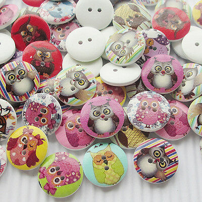 New 10/50/100/500pcs Cute Owl Wood Buttons 20mm Sewing Craft Mix Lots