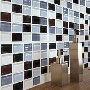 Détails sur 6 Pièces Noir Mosaïque Autocollant Cuisine Salle de Bain  Décoration Murale