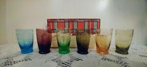 Vintage-Set-of-6-Etched-Colored-Cordial-Shot-Glasses-In-Original-Box