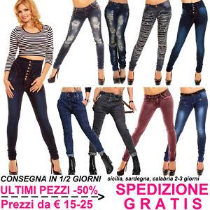 Jeans-Moda-Donna-Scuri-Pantaloni-Skinny-Slim-Fit-Elasticizzati-Vita-Bassa-e-Alta